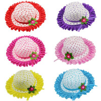 Wholesale Straw Hats For Children - Fashion Kids Hat Weave Photo Props Hollow Woven Straw Cap Baby Sun Hats for Children 2-8Y Sunshade Beach Cap Chapeau
