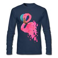 Wholesale Unique Design Clothes - Flamingo print men T-shirt Geometric style pink paint man's long-sleeve shirts 2017 fall new design unique clothes for guys