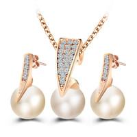 Wholesale Crystal Rhinestone Choker Necklace Earring - Pearl Rhinestone Jewelry Sets Luxury Crystal Diamond Necklace and Earring Sets Imitation Pearl Choker Necklace Clavicle Chain Party Jewelry