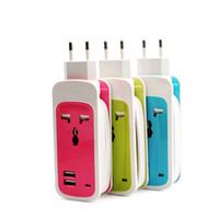 Wholesale Mini Home Amp - DUAL USB Universal Socket,3 in 1 Dual USB Universal Socket Mini Travel Charger Home Charger Surge Protector (2.1 AMP   10 Watt) (3 Colors)