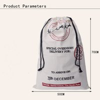 Wholesale Silk Cloth Drawstring Bags - DHL Free Large Canvas Monogrammable Santa Claus Drawstring Bag With Reindeers, Monogramable Christmas Gifts Sack Bags