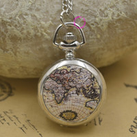 Wholesale Enamel Pocket Watch Necklace - Wholesale-new silver classic fashion girl enamel pocket watch necklace brown globe world map with chain wholesale buyer price good quality