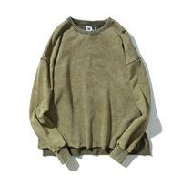 eski hip hop hoodie toptan satış-Erkekler Yüksek Sokak Kanye Hoodies Sonbahar Bahar Rahat Gevşek Hip Hop Düz Renk Uzun Kollu Kazaklar Tops O-Boyun Vintage Tişörtü