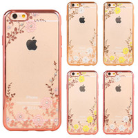 Wholesale Shining Tpu Case - Rhinestone Clear TPU Cases For iPhone 7 6s 6 Plus Case Samsung S6 S7 Edge Transparent Electroplaiting Rose Flower Diamond Shining Painting
