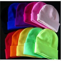 Wholesale Neon Winter Hats - New 2016 Fashion Knitted Neon Women Beanie Girls Autumn Casual Cap Women's Warm Winter Hats Unisex