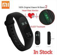Wholesale Wristband Free - Original Xiaomi Mi Band 2 Smart Fitness Bracelet watch Wristband Miband OLED Touchpad Sleep Monitor Heart Rate Mi Band2 Free Screen Film