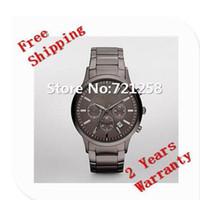 Wholesale Grey Ceramic - free hk shipping _Absolute luxury NEW GENTS CHRONOGRAPH MENS WATCH AR2454 2454 GENTS GREY WRISTWATCH +original box