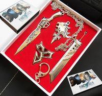 Wholesale Shiny Suits Sale - Final Fantasy keychain pendant necklace gift box 4 Kit Set For Sale