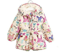 Wholesale Girls Feather Jacket - Next 2017 Winter Kids Jackets & Coats Girls Graffiti Parkas Hooded Baby Girl Warm Outerwear Cartoon Animal Children's Jacket