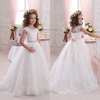 Wholesale 2016 Newest Flower Girl Dresses A Line Sheer Crew Neck Capped Sleeves Lace Appliques Floor Length Girls Wedding Party Dress Little Bride