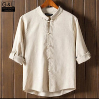 Wholesale Looking Men Suit - Wholesale-Wholesale New Arrival Classic Look Chinese Style Men Kung Fu Shirt Tops Tang Suit 3 4 Sleeve Shirts Tops Cotton Linen Shirts