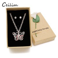 Wholesale wholesale butterfly - 2017 Cute Kid Jewelry Set Butterfly Necklace Women Silver Chain Pink Rhinestone Necklace For Girls Daughter Christmas Children Gift With Box