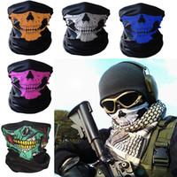 ingrosso bandana multi-sciarpa della bici-New Skull Face Mask Outdoor Sport Sci Bike Moto Sciarpe Bandana Collo Snood Halloween Party Cosplay Maschere a pieno facciale WX9-65