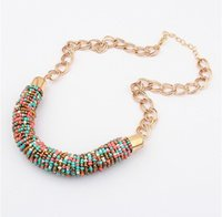 Compra Catena D'oro Bianco 14k-European American Fashion Colour seed Beads Pendant Necklace Women Handmade Cylinder Catene Collane Rosso / Verde / Nero / Bianco / Oro / Corallo / Colori