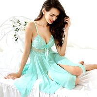 Wholesale Summer Lovers Sleepwear - Wholesale- 2017 Spring Summer Women Lace Nightgown & G-String Female Hot Sexy Lingerie Backless Nightdress Lover Sleepwear Plus Size 2XL