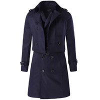 Wholesale Long Trench Coat Men Pieces - Fall-2016 Autumn New Trench Men Double Breasted Liner Detachable A Two-piece Coat Casual Windproof Turn-down Collar Jacket MXA0282