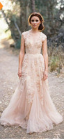 Wholesale Lace Layered Wedding Gown - Vintage 2017 Lace Wedding Dresses Champagne Sweetheart Ruffles Bridal Gown Cap Sleeve Deep V neck Layered Reem Acra Lace Bridal Gowns