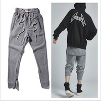 Wholesale mens korean fashion clothes - 2016 Newest Fashion Joggers Korean Mens Urban Clothing Gray Kanye West Justin Bieber Zipper Pants Mens Fear Of God Pants