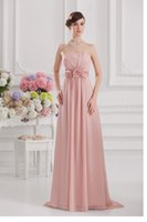 Wholesale Coral Chiffon Bridesmaids Wholesale - Long Bridesmaid Dresses Chiffon Strapless Sweep Train With Ruffle Hand-Made Flowers Zip Cheap Bridesmaids Dresses #DL20093
