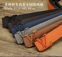 Wholesale Leather Belt Low Price - 2017 hot sale men's belts Brand L buckle top high quality famous luxury designer sell Belt buckle for mens belt Low price size 125cm