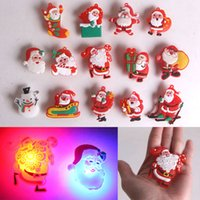 Wholesale Flash Badges - HOT Christmas Decors Santa Claus Snowman LED Flashing Light Up Badge Brooch Pins Party Gifts for Christmas Party
