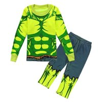 Wholesale Nightdresses Cotton - The Hulk Boys Pajamas Sets Long Sleeve Children Pyjamas nightdress Sleepwear Green muscle T-Shirt Trouser Suit Boys Clothes WQBL