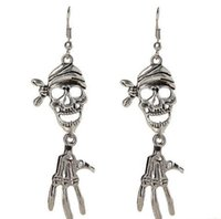 Vintage Halloween Party Skull Designer Long Earrings pour les femmes Girls Silver Fashion Skeleton Charm Dangle Chandelier bijoux en ligne à bas prix