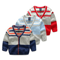 Wholesale Boys Fall Sweaters - 2017 New style Boys clothing Knitwear Cardigan Sweaters Casual Contrast Striped Cotton Sweater Coat 2017 Fall Boutique Navy GRAY