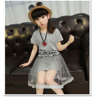 Wholesale Set Children 3pcs Suits Skirt - New Summer Children Outfits Clothing Suit For Big Girl Cotton Long Tops Dress + Lace Tulle Skirt + Belt Kids 3pcs Sets Girls Set Gray 11538