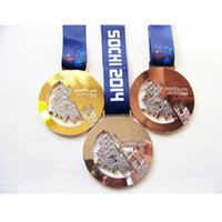 Wholesale Russia Medals - 3 pcs (1 set) 2016 Russia Sochi winter Olympic badge gold silver bronze medal Championship award badge set with belts