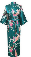 Wholesale Wholesale Robes For Women - Wholesale-Brand New Long Robe Satin Rayon Bathrobe Nightgown For Women Kimono Sleepwear Flower Plus Size S-XXXL S02D