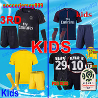 Wholesale Paris Kids - 2017 2018 soccer jerseys 17 18 paris kids kits sets uniforms home away 3rd Neymar jr Silva Cavani Draxler Football shirts