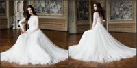Wholesale Tull Wedding Dress Cheap - 2016 A-Line Long Sleeve Lace And Tull Cheap Beautiful Wedding Dresses Slimple Moderm White Bridal Gowns