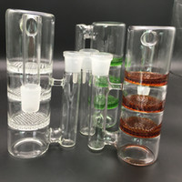 Wholesale Two Function Honeycomb Glass Percolator - Recycler Honeycomb Ashcatcher 18mm Double Percolator Bong Ash Catchers Two Function Bubbler Pipes Hand Blown Oil Rigs Accessories