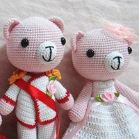 Wholesale Love Toys Couples - Conjugal love bear couple white and black handmake knitting wool for clothing little and cute version