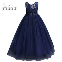 Wholesale Girls Blue Christmas Dress - Navy Blue Cheap Flower Girl Dresses 2017 In Stock Princess A Line Sleeveless Kids Toddler First Communion Dress with Sash MC0889