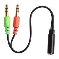 cabo de áudio fêmea de 3,5 mm venda por atacado-Alta Qualidade 3.5 MM de Extensão Fone De Ouvido Fone De Ouvido Cabo De Áudio Splitter Adaptador Fêmea Para 2 Macho Atacado cabo AUX 100 pcs Frete Grátis
