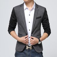 Wholesale Pea Suit - new style men blazer 2016 suit men brand casual jacket latest coat designs leather patch blazers men urban clothing pea coats