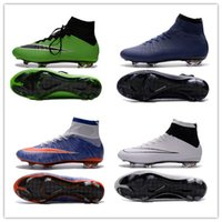 Wholesale Cream Colour Boots - Mercurial Superfly FG - Laser Dark Blue Boots best selection of soccer cleats Mens Football Boots Cleats 4 Colours Eur 39-45
