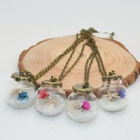 Wholesale Plastic Flower Necklace - Wholesale 2017 New Jewelry Fashion Dry Flower Ball Pendants Necklaces Original Manual Art Sea Shells Restoring Ancient Way Party Dresses up