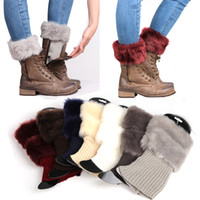 Wholesale Wholesale Imitation Socks - New Womens Knit Boot Socks Imitation Fur Trim Leg Warmer Winter Leggings Warm Up Knitted Booty Gaiters Foot Cover free shipping