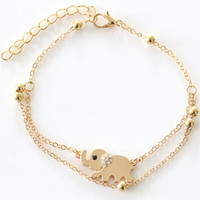 Wholesale Rose Gold Anklets - DHL Free 200pcs New Double Cains Lucky Elephant Pendant Rose Golden Plated Multilayer Anklet Women's Fasion Jewelry Anklets Foot Chains