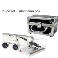 Wholesale Loupe Glasses Dental - Wholesale-2016 Silver New Dentist Dental Surgical Medical Binocular Loupes 3.5X 420mm Optical Glass Loupe Portable Light Clip+Aluminum Box