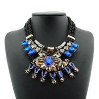 Wholesale Womens Necklace Silver Chunky - New Boho chunky statement necklaces Gorgeous Blue white crystal rhinestone choker Bib necklace for womens Ladies Fashion Jewelry accessories