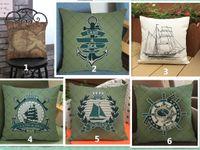Wholesale Cotton Steering Wheel Covers - Sailing ship ship's anchor Map Ship steering wheel Cartoon printed pillow cover Sofa linen cotton velvet comfortable cushion cover 45*45cm