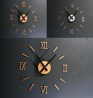 Wholesale Diy 3d Mirror Wall Clock - 2016 New Acrylic Mirror 3D Wall Clock Quartz Watch Diy Clocks Horloge Stickers Living Room Europe Home Decoration Reloj De Pared
