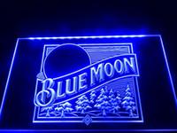 ücretsiz neon bira işareti toptan satış-LS353-b Mavi Ay Beer Bar Birahane Logo Neon Işık Burcu Dekor Ücretsiz Kargo Dropshipping Toptan 8 renk seçmek için