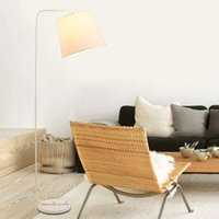 Wholesale Wrought Iron Floor Lamps - Wholesale-Indoor Wrought Iron Brief Modern Floor Lamp White And Black Fabric Lamp Shade Floor Lamp For Living And Bed Room