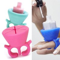 Wholesale Soft Tool Nail - Women Finger Wearable Nail Gel Bottle Soft Silicone Holder with ring Creative Nail Art Tools Polish Varnish Bottle