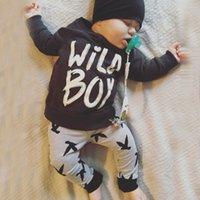 Wholesale Birds Tshirt - Autumn Ins Infant Baby Clothing Suit Kids Letters Long Sleeve Tops Tshirt + Birds Pants Children 2pcs Outfits Set 12347